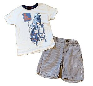 Crazy 8 Boys 4 Shirt And Short Set/outfit, Beach Dog And Striped Chambray Shorts