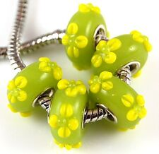Lot 5pc Lime Yellow Flower Big Hole Lampwork Glass Beads European Charm Bracelet