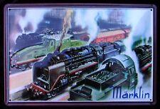 """ Märklin "" - Targa di latta, Treno, Locomotiva a vapore, Treno, NUOVO"