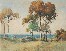 ALVAH E. ROSEBRAY (1880-1943) RARE watercolour 1920 Norman Lindsay Sydney Long