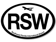 3x5 inch Oval RSW Airport Code Sticker - florida airlines fl pilot hub fla fly i