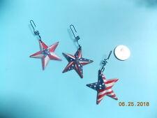 Set of 3 Primitive Metal Americana Star Ornaments