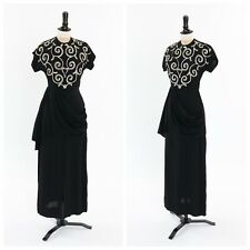 Vintage original 1940s 40s black crepe full length evening dress sequin bodice 6