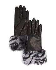 Bloomingdale's Women's Gloves Cashmere-Lined Zebra Print Rabbit Fur Gloves Sz 7
