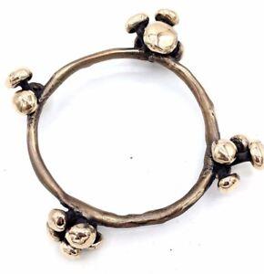 HEAVY American Modernist Golden BRONZE Spore Bangle Bracelet