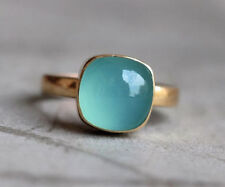 Natural Cab Aqua Chalcedony Gemstone 14K Yellow Gold Fine Handmade Ring Jewelry