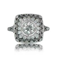 Engagement Ring Vintage 2.2 Ct Diamond Wedding Art Deco Ring 14k White Gold Over