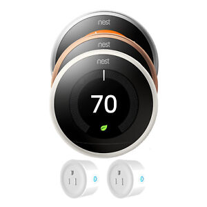 Nest Learning Thermostat 3rd Gen with Deco Gear 2 Pack WiFi Smart Plug