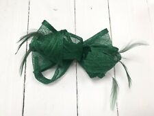 Emerald Green Feather Fascinator Hair Clip or Hair Band Ladies Day Races Wedding
