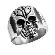 Neues AngebotHerren Edelstahl Cracked Totenkopf Biker Ring