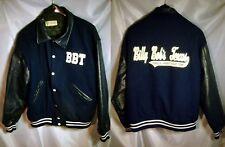 BILLY BOB'S TEXAS VARSITY BOMBER JACKET Mens XL Steer Brand BLUE LEATHER & WOOL