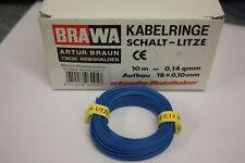 BRAWA KABELRING SCHALT-LITZE BLAU 10 m 0,14QMM NEU! HB01