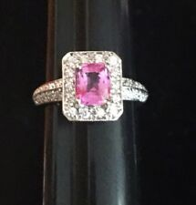 Pink Sapphire Diamond Halo Ring 18k Gold White Natural Cushion 1.31 6.5 Estate