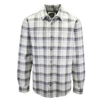 prAna Men's Grey & White L/S Flannel Shirt (S13)