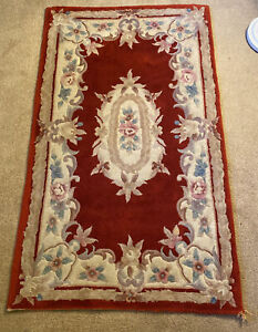 Vintage Chinese Aubusson Rug 5.8ft x 3ft Wool Red Floral French Chateau Oriental