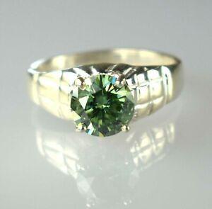 Engagement Gift 4.53 Ct Round Green Diamond Solitaire Men's Ring-Men's Jewelry