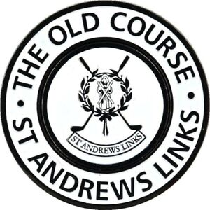 St. ANDREWS Two Sided LARGE FLAT Golf BALL MARKER w/Removable BALL MARKER