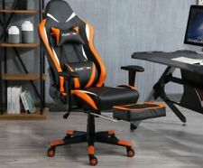 Game Chair Office PU Leather Chair massage chair Adjustable 360° Black & Orange