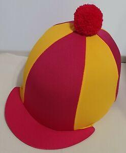 RIDING HAT COVER - CERISE & MATT AMBER WITH CERISE POMPOM