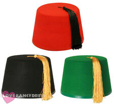 PACK OF 3 ADULT FEZ HATS RED BLACK GREEN WITH TASSEL MOROCCAN FANCY DRESS GROUP