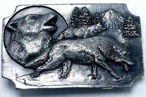 Vtg 1991 Zinn Drei Wolf Mond Gürtelschnalle Arroyo Grande Schnalle Co