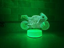 Ducati Motorcycle Sport Bike 3D illusion LED Light Night Color Change Table Lamp
