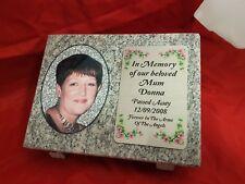 Personalised Grey Granite Memorial Grave Plaque Stone with Full Colour Photo