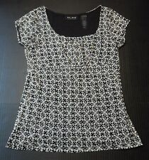Axcess Blouse Top Size Small Sheer Lined Pullover Cap Sleeves Career Casual