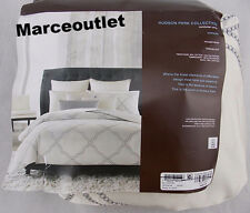Hudson Park Collection Verraine FULL / QUEEN Embroidered Duvet Cover Cream Gray