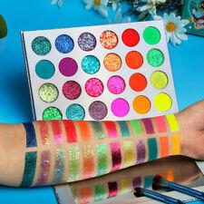 24Colors Neon Eyeshadow Palette Glitter-Matte Glow In Dark Makeup HalloweenParty