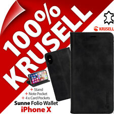 Krusell Sunne support en cuir étui rabattable pour Apple iPhone X