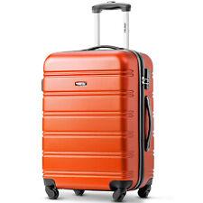 "Travel Trolley Suitcase Luggage Lightweight Hard Shell 4 Wheels Case 24"" Orange"