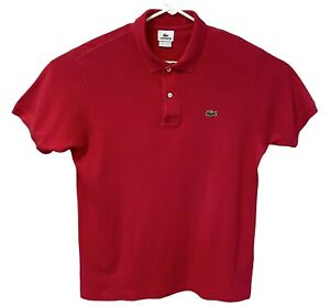 Lacoste Men's Short Sleeve Polo Size Large Red/Pink Croc Logo