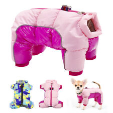 Waterproof Pet Dog Clothes Reflective Jumpsuit for Small Puppy Girl Boy Pink S-L