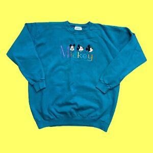 Vintage 90s Genus Mickey Mouse Embroidered Crewneck Sweatshirt Sz XXL