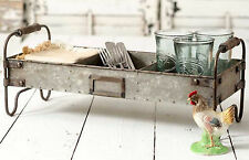 Galvanized Metal Divided Tray 3 Compartments Footed RUSTIC INDUSTRIAL DECOR