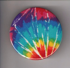 "PSYCHEDELIC TIE DYE BLUE, PINBACK BUTTON 2 1/4"" NEW"
