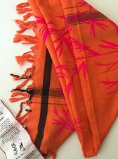 LEIGHT & LUCA LIMITED EDITION SCARF Orange Floral Cotton Blend NEW
