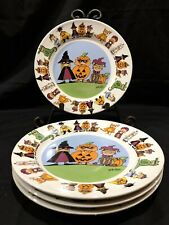 Halloween Goblins By Ursula Dodge For Signature Stoneware Plate Set Of (4) 7""