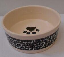"""Pet Dish Ceramic CREAM BLACK WEAVE & PAW 5 X 2"""""""