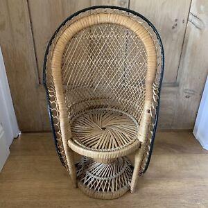 "Vintage Peacock Chair Medium Twist Base Wicker Rattan Doll/Plant Stand 20"" Boho"