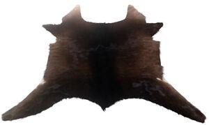 """Cowhide Rugs Calf Hide Cow Skin Rug (30""""x28"""") Furry Brown and Black CH8236"""