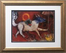 "Marc Chagall ""Cow With Parasol"" New CUSTOM FRAMED Art Rare Wedding Couple Love"