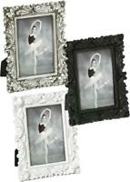 Ornate Baroque Vintage 6x8 Picture Photo Frame in White, Silver or Black