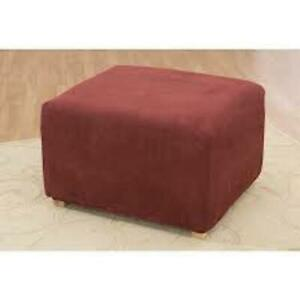 Sure Fit Stretch Pique 0ttoman  Slipcover in Red/Burgundy