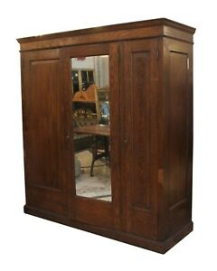 Vintage Oak 6 ft Armoire with Mirror