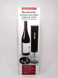 Brookstone Automatic Wine Opener & Wine Foil Cutter, One Touch Cork Removal NEW