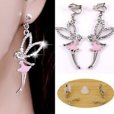 """#E121U CLIP ON non-pierced EARRINGS Dangle 1.8"""" Big Fairy Crystal Enamel PINK"""