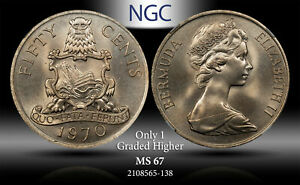 1970 BERMUDA 50 CENTS NGC MS 67 ONLY 1 GRADED HIGHER #A