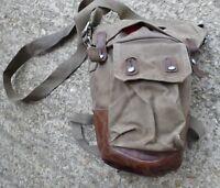 Swedish Army Gas Mask Bag - Brown Leather Base